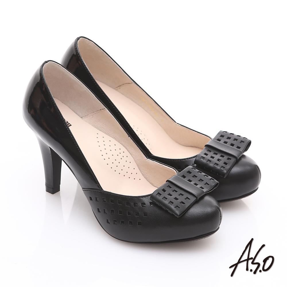 A.S.O 優雅時尚 真皮幾何沖孔蝴蝶結飾高跟鞋 黑