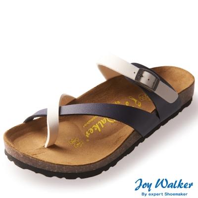 Joy Walker 素面交叉帶夾腳涼鞋* 藍白