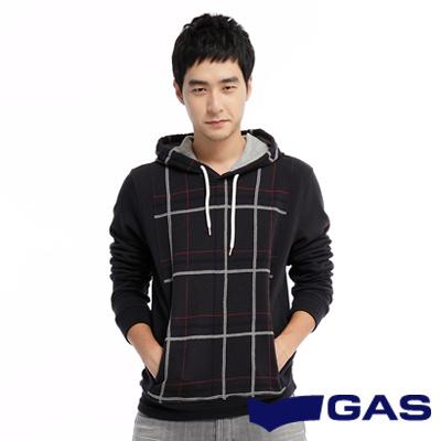GAS-簡約經典-特殊格紋車線街頭風潮附帽長袖厚T-深藍-男款