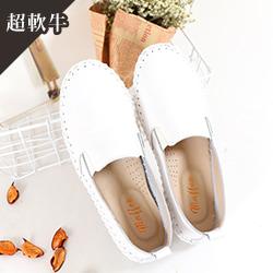 無印風手工縫線真皮豆豆鞋