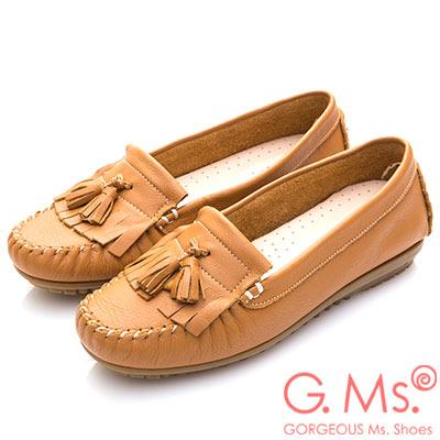 G.Ms. MIT系列-極好穿軟Q牛皮流蘇莫卡辛鞋-駝色