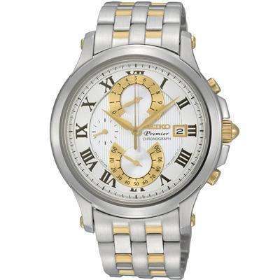 SEIKO PREMIER 羅馬殿堂雅緻計時腕錶(SPC068J1 )-銀x金/40mm