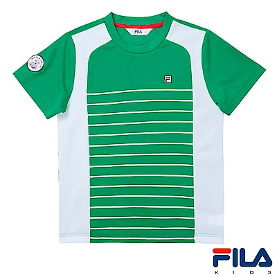 FILA KIDS 男童吸濕排汗上衣-綠1TES-4405-GN