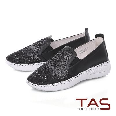 TAS水鑽透膚網布拼接縫線休閒鞋-經典黑
