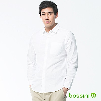 bossini男裝-素色長袖襯衫01白
