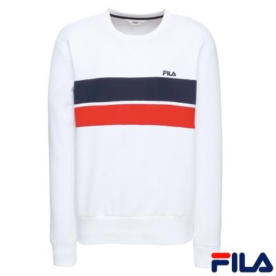 FILA 男款長袖圓領T恤-白1TER-1401-WT