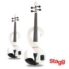 Stagg 比利時 4/4電子式楓木小提琴套裝組(白色)