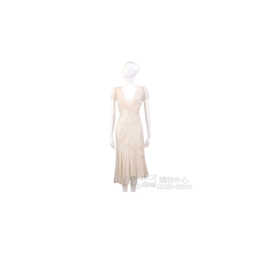BLUMARINE-ANNA MOLINARI 米白色抓褶V領短袖洋裝