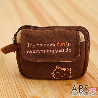 ABS貝斯貓 - HaveFun微笑貓咪拼布 雙層複合功能零錢包88-178 - 蜜糖咖