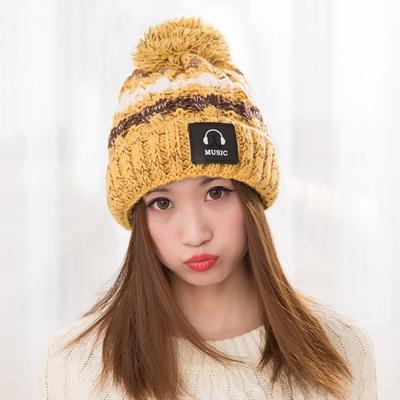 幸福揚邑 MUSIC潮流雙層保暖護耳小顏拚色毛球針織毛線帽-鵝黃