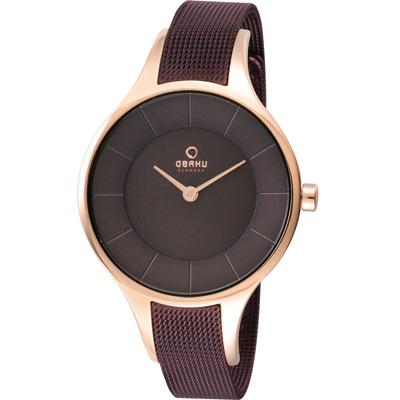 OBAKU 純愛時刻米蘭腕錶-咖啡x玫瑰金框/32mm