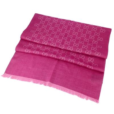 GUCCI 桃紅/粉紅雙色 G LOGO羊毛混紡圍巾