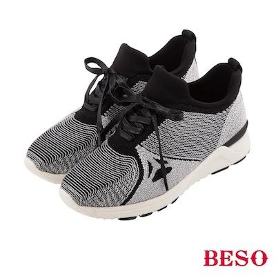 BESO 休閒百搭 運動風銀線輕量飛織鞋~銀