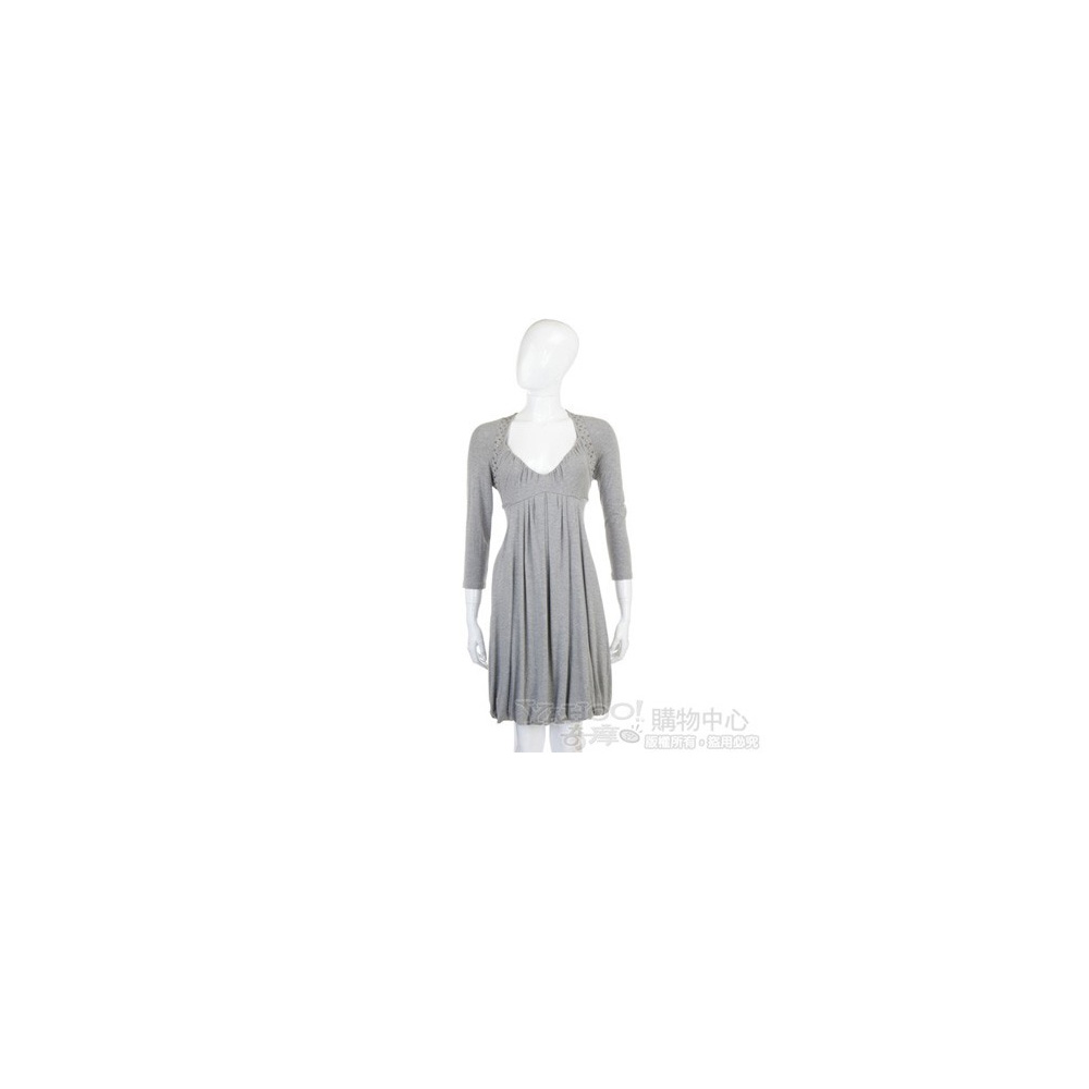BLUGIRL-Folies 灰色鉚釘七分袖洋裝