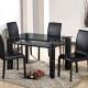 品家居-米樂4-3尺馬鞍皮玻璃造型長方餐桌椅組-一