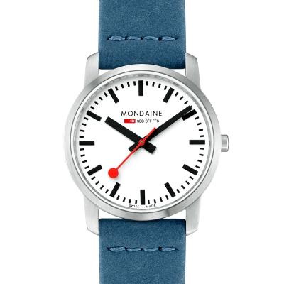 MONDAINE 瑞士國鐵 超薄系列腕錶-白x藍色錶帶/36mm