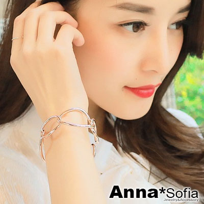 AnnaSofia-交叉鎖鏈-鍍K金硬質開口手環