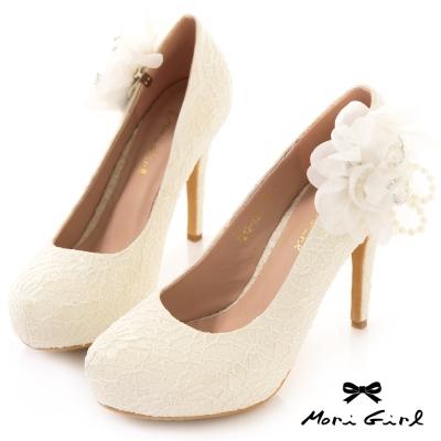 Mori girl 2ways可拆式立體珍珠花紗高跟婚鞋 白