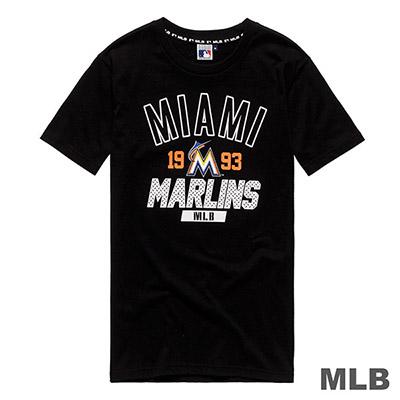 MLB-邁阿密馬林魚隊休閒印花短T-黑 (男)