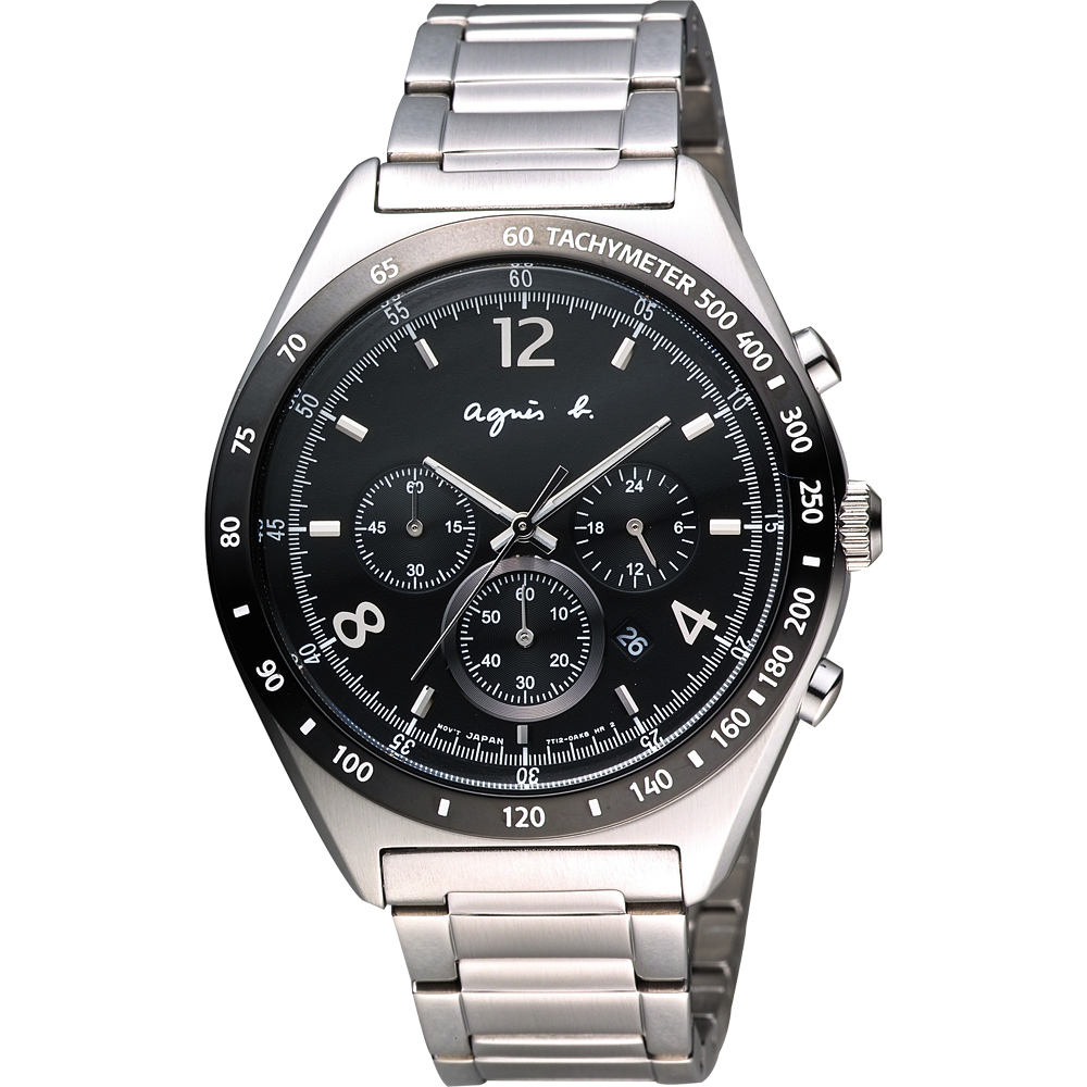 agnes b. 宇宙星馳視距儀計時腕錶-黑/42mm