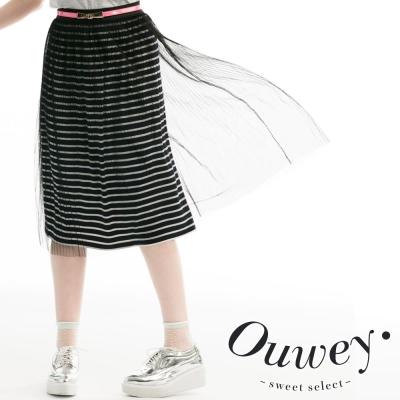 OUWEY歐薇-網紗線條棉質膝下裙