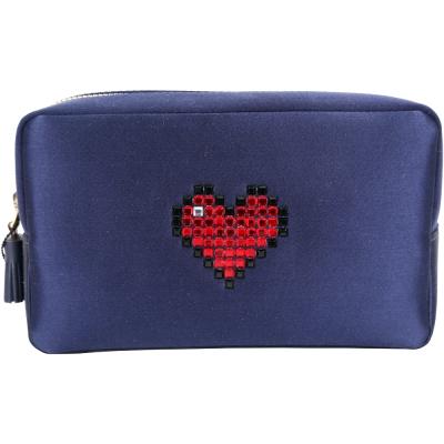 ANYA HINDMARCH Heart 心型鑽飾緞面化妝包(深藍色)