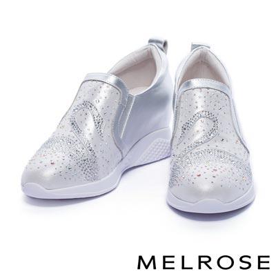 休閒鞋 MELROSE 奢華閃耀全真皮晶鑽天鵝造型內增高休閒鞋-銀