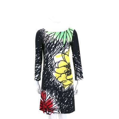 BOUTIQUE MOSCHINO 黑色花朵塗鴉長袖洋裝