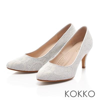 KOKKO-璀璨幸福蕾絲手工高跟鞋-復古灰