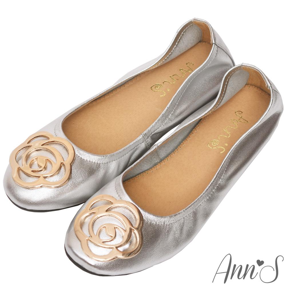 Ann'S小香風金屬山茶花柔軟羊皮平底娃娃鞋-銀