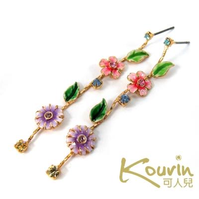KOURIN花園系列-法瑯水鑽小雛菊垂墜式耳環