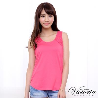 Victoria 剪接蕾絲挖背式背心-女-粉