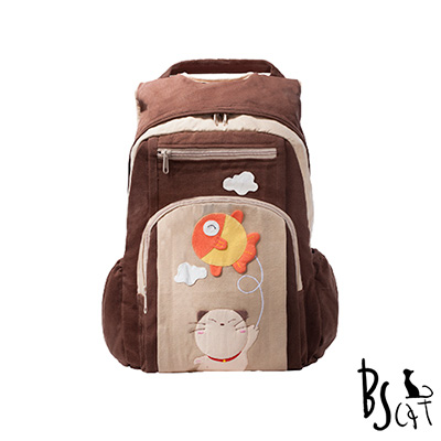 ABS貝斯貓 可愛貓咪拼布 雙肩後背包 背包 (咖) 88-199