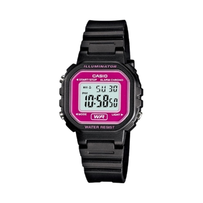 CASIO 黑色炫風方形電子錶(LA-20WH-4A)-桃紅面/30.4mm