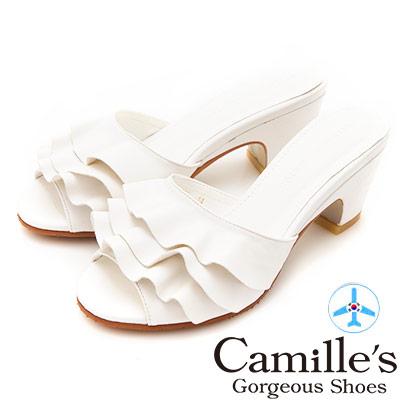 Camille's 韓國空運-波浪裙魚口粗跟涼拖鞋-白色