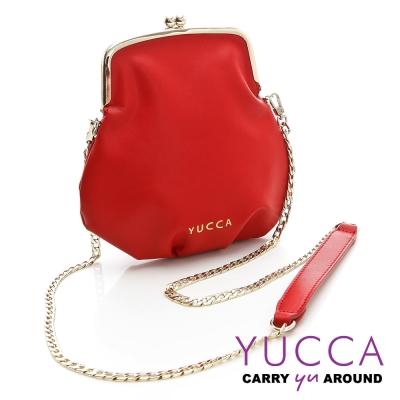YUCCA - 軟牛皮復古轉釦鍊帶小包-紅色D0091003C68