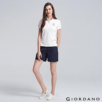 GIORDANO 女裝純棉素色抽繩卡其休閒短褲-66 標誌海軍藍
