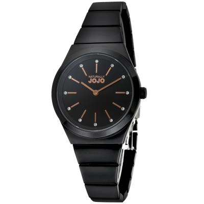 NATURALLY JOJO 晶鑽立體時標氣質腕錶-黑色/黑色-34mm