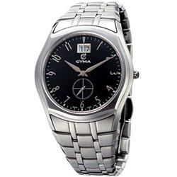 CYMA 簡約都會知性小秒針時尚腕錶-黑/39mm