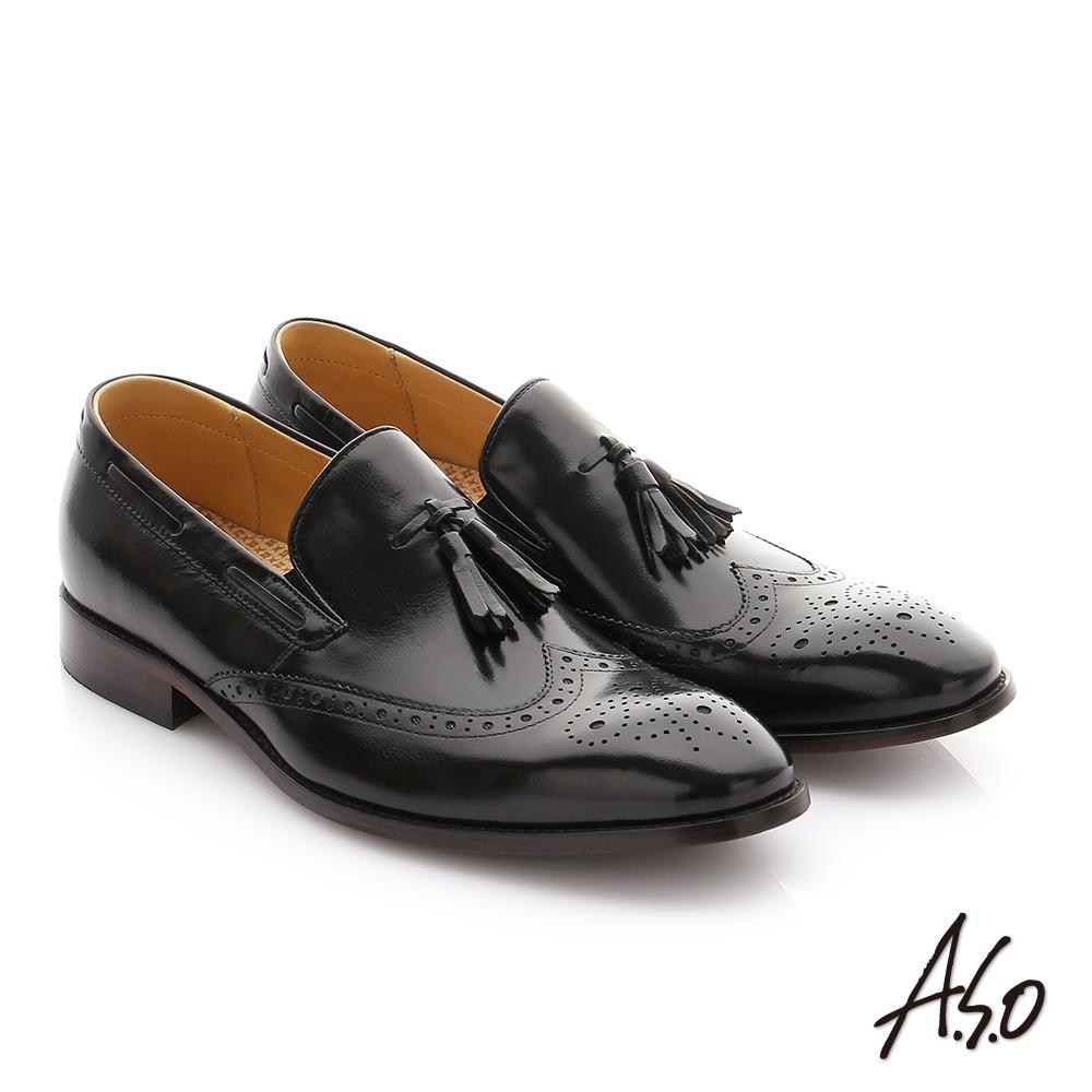 A.S.O 尊榮青紳 牛皮奈米鬆緊帶紳士鞋 黑色