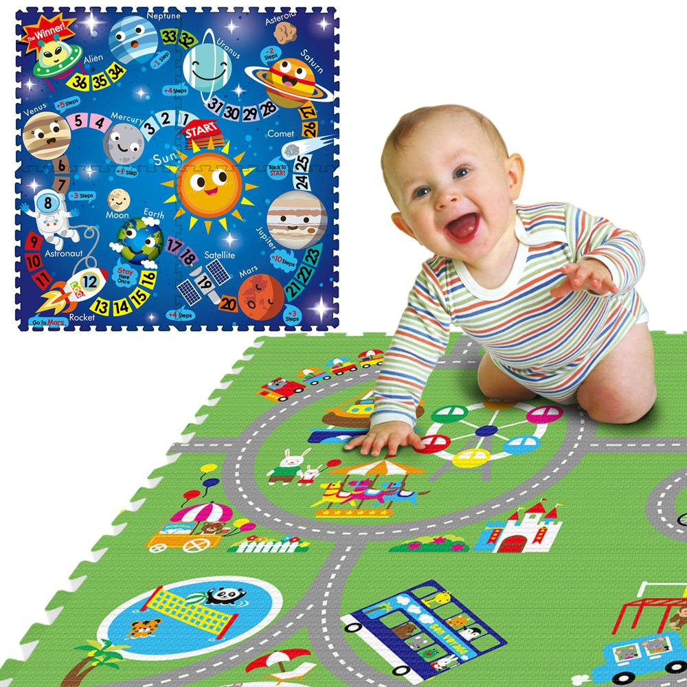 LOG樂格環保遊戲巧拼墊-雙面圖案動物遊樂園X星際漫遊60X60cmX厚2cm