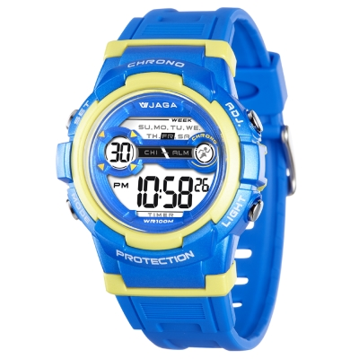 JAGA 捷卡 M1126-EK 色彩繽紛花漾年華多功能電子錶-藍黃