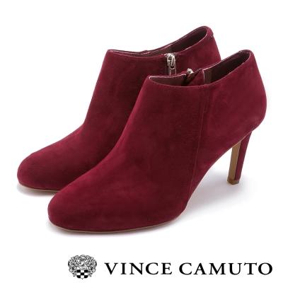 VINCE CAMUTO  時尚經典款 皮革質感中跟踝靴-酒紅