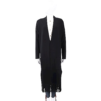 TRUSSARDI 坑條織紋黑色流蘇針織開襟長版罩衫