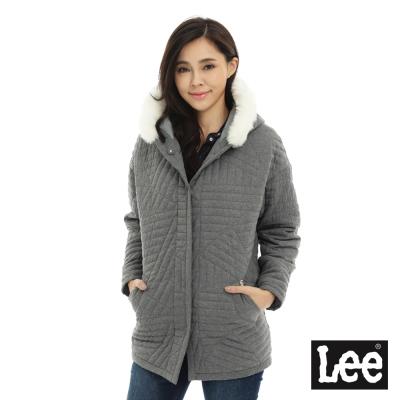 Lee 毛邊氣質連帽鋪棉外套-女款-灰色