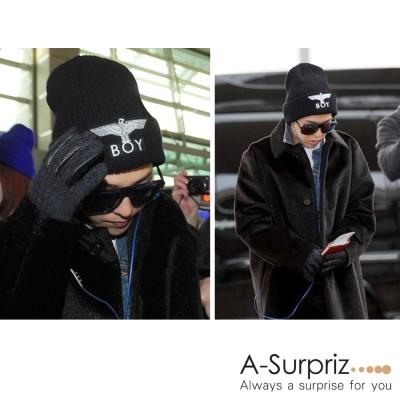 A-Surpriz BOY飛鷹刺繡反摺針織帽(黑)