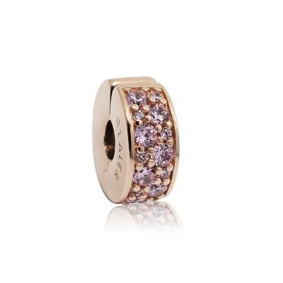Pandora 潘朵拉 玫瑰金粉色鑲鋯扁狀夾扣式 純銀墜飾 串珠