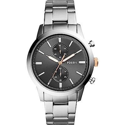 FOSSIL Townsman 城區計時手錶-灰x銀/44mm