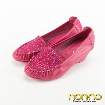nonno 低調奢華幾何碎鑽楔型跟鞋-粉