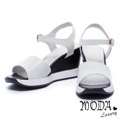 涼鞋 MODA Luxury 簡約寬版字帶牛皮楔型涼鞋-白